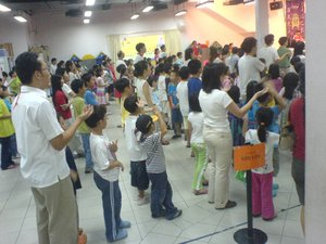 The kids in worship.