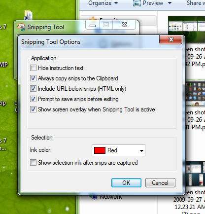 Snipping Tool options.