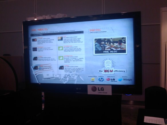 One of the LCD panels running the uber cool TNE Twitter Boards